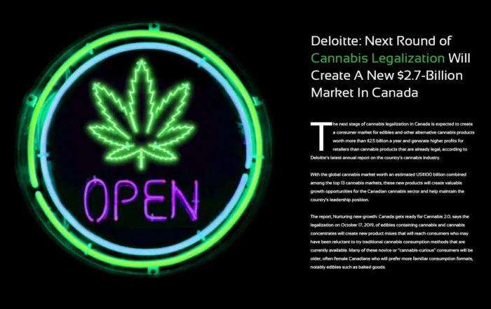 Deloitte: Next Round of Cannabis Legalization Will Create A New $2.7-Billion Market In Canada